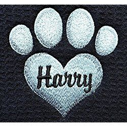 "Personalized Pet Feeding Mat, Pet Placemat, Cat Litter Mat, Dog Feeding Mat, Dog Bowl Mat, 18"" X 16"" Machine Wash/Dry, Durable, Three Toned Embroidery Heart Paw Print"
