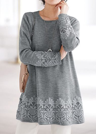 Round Neck Lace Panel Grey Blouse on sale only US$30.64 now, buy cheap Round Neck Lace Panel Grey Blouse at liligal.com