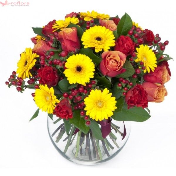 Smile & Sunshine - Buchet din trandafiri si gerbera