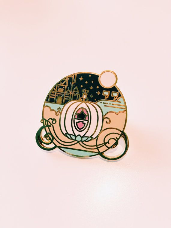 Keep On Believing // Gold and pink magical pumpkin / Cinderella Enamel Lapel Pin by Studio Granson | Pin Game