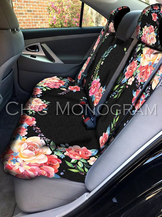 Classy Black Floral Car Seat Cover Back