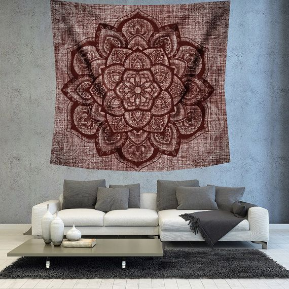 Turquoise Mandala wall hanging tapestry by Christinedecorshop