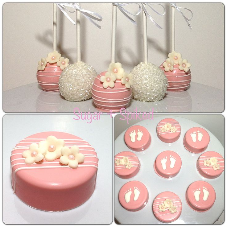 Pink and white baby shower cakepops and Oreos