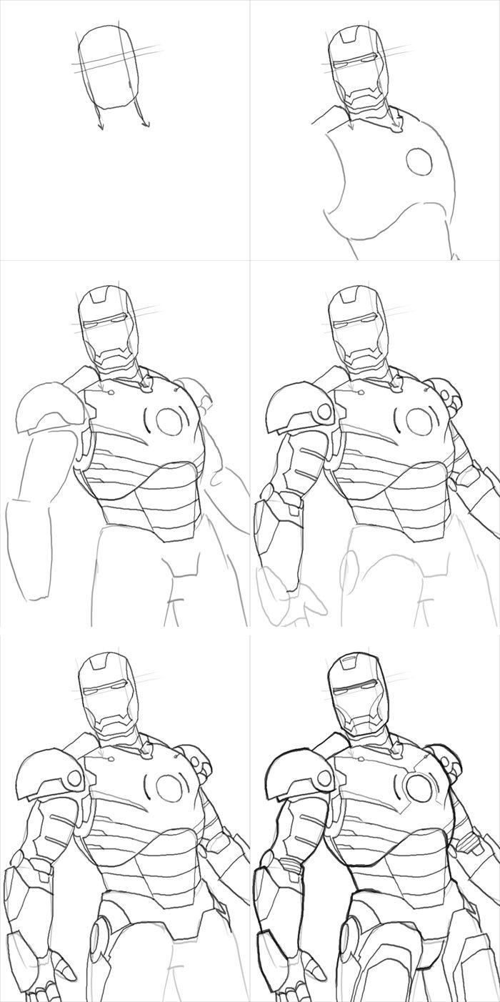 Железный человек рисунки карандашом легкие и красивые
