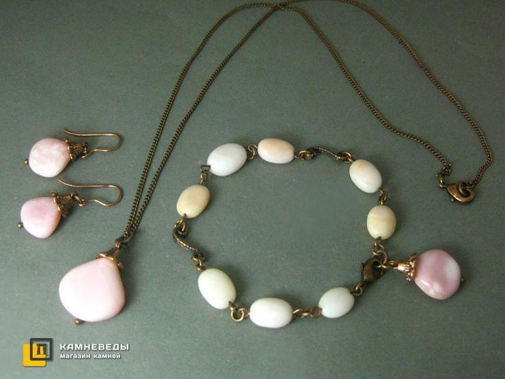 Комплект: подвеска, браслет и серьги с опалом розовым  #камневеды #бусина #бусины #купить #комплект