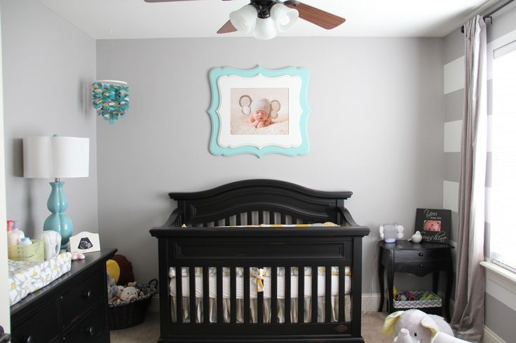 Gray with pops of yellow and teal work well for #babyboy or #babygirl nurseries.: Color, Grey Nurseries, Projects Nurseries, Baby, Gender Neutral Nurseries, Nurseries Ideas, Black Furniture, Lights Gray Wall, Gray Nurseries