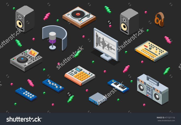 Hip-Hop Music Studio 3d Isometric Illustration On Dark. Low Poly Flat Design. - 471321116 : Shutterstock