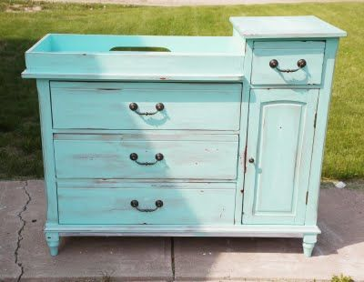 DIY Distressed Changing Table...personally I absolutely love baby changing tables to upcycle.  So many things you can do with them....so many.  rr :-)