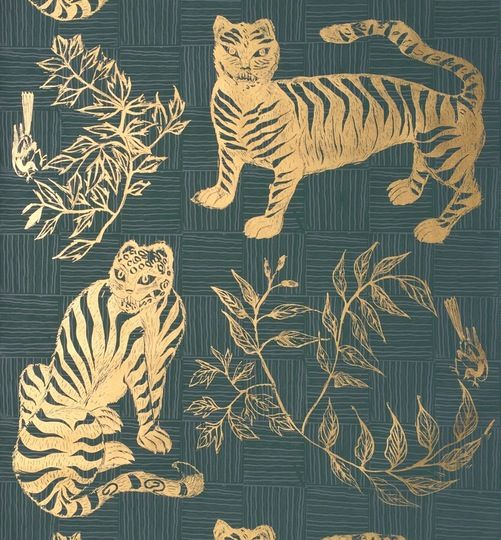Tiger  Magie Hunter  Ethnic, Prints, Metallic, Paper, Wall Coverings  by Krane