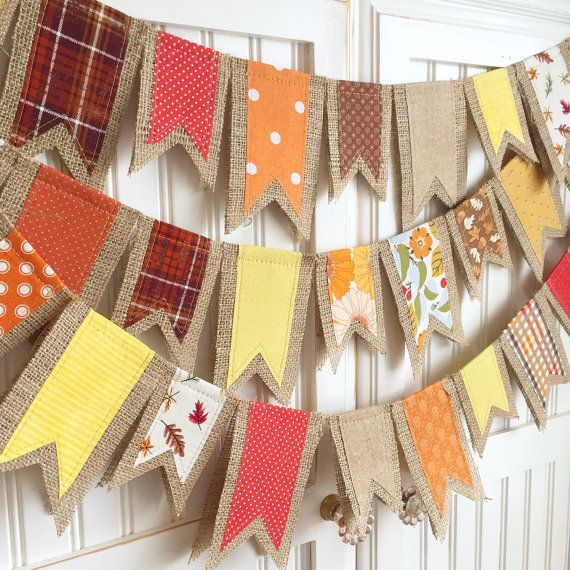 Each flag is made with fall-inspired fabric scraps sewn onto natural burlap which are then folded in half and hung over natural jute cord. The flags are sewn just below the jute cord to allow movement so you may space them as desired. The length of the banner is measured without spacing between the flags and there will be three feet of extra cord included on each end of the banner to allow you to space them as desired. Message me if there are colors which you wish to add to or leave out of…