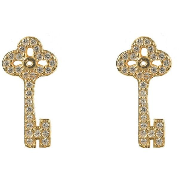 Latelita London - Key Earring Gold (£34) ❤ liked on Polyvore featuring jewelry, earrings, white gold earrings, initial earrings, white earrings, post back earrings and gold earrings