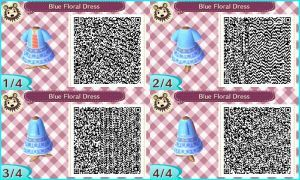 ~Animal Crossing~ QR Codes - Blue Floral Dress by sakurablossom143