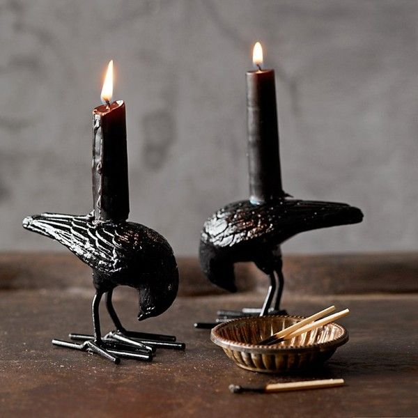 Halloween Raven Tiny Taper Holders, Set of 2 (€18) found on Polyvore