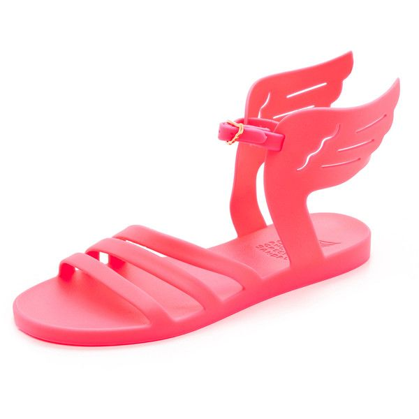 Ancient Greek Sandals Ikaria Wing Jelly Sandals (8,345 INR) ❤ liked on Polyvore featuring shoes, sandals, fluo fuschia, cut out sandals, fuschia shoes, cutout sandals, cut-out shoes and winged sandals