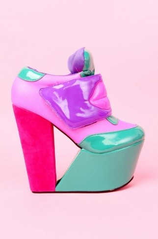 Zenon Girl of the 21st Century inspired shoes heels pumps gorgeous neon multi colors fabulousness! 90's kids dreams! Disney Protozoa Zoom Zoom Zoom make my heart go boom boom