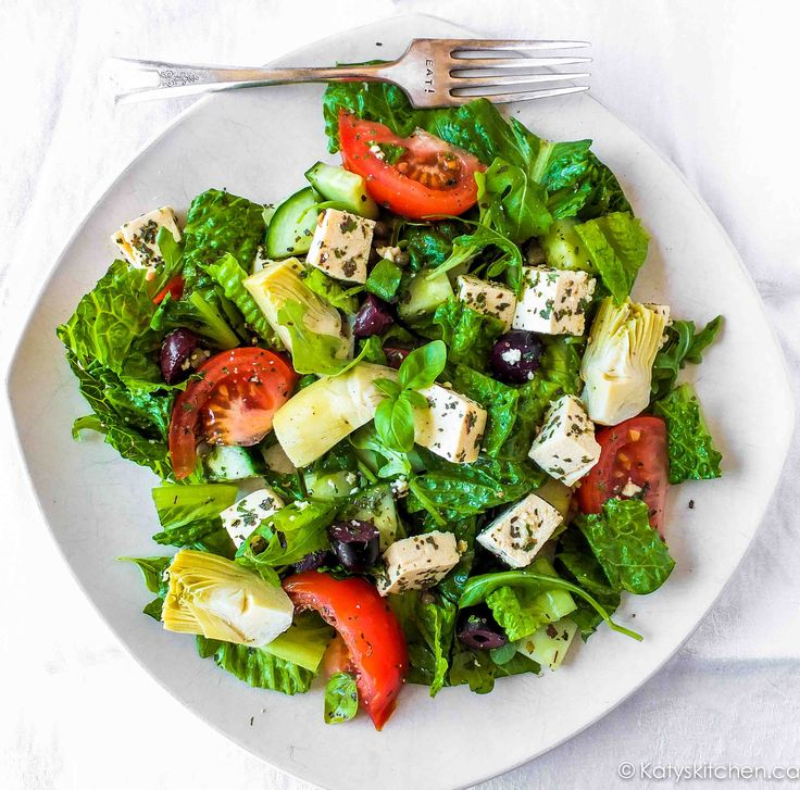 Santorini Summer Salad with Tofu Feta by Katys Kitchen