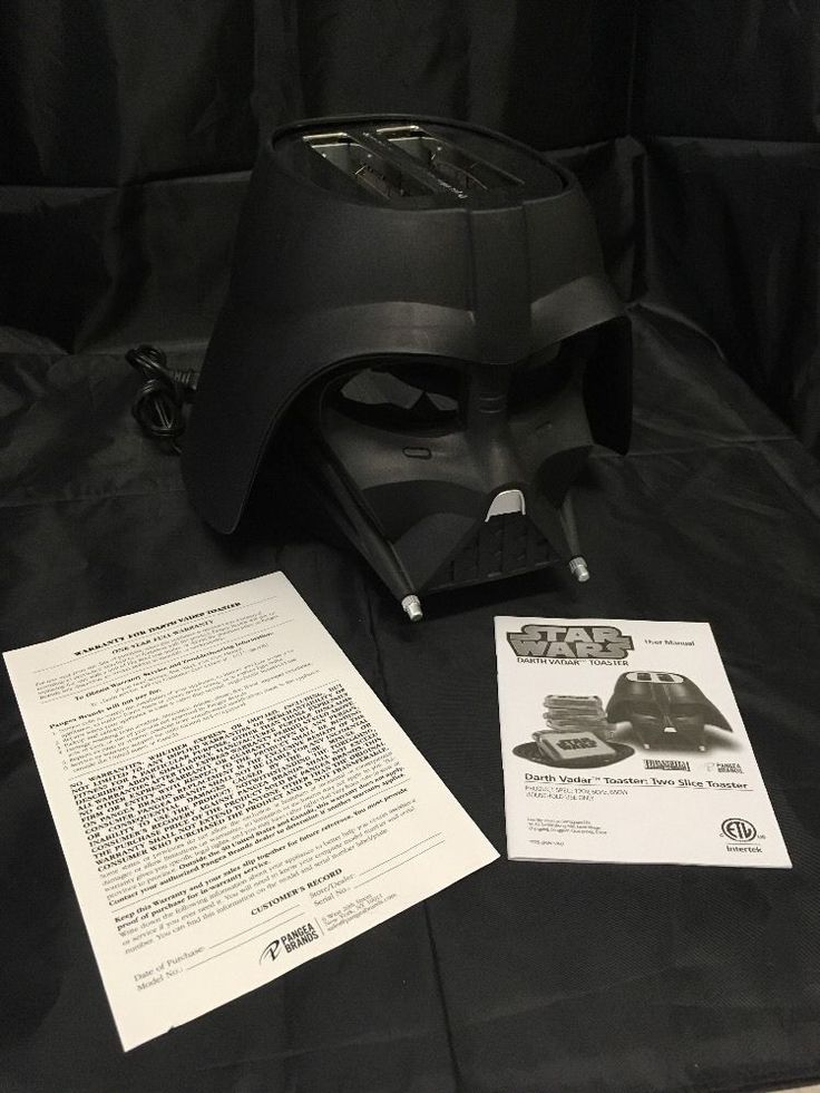 Black Star Wars Darth Vader Helmet Shaped Toaster 2-Slice Dial Adjust Burns Logo  | eBay