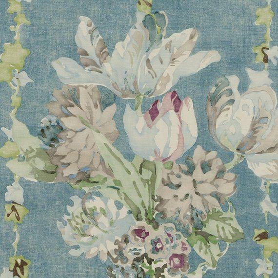 Aqua Blue Upholstery Fabric Lavender Floral Curtains Roman