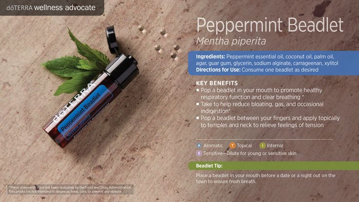 Through a unique and exclusive process, doTERRA has captured the unique benefits of Peppermint essential oil in the convenience of a soft vegetarian beadlet. Each tiny beadlet delivers a refreshing burst of Peppermint as it dissolves in your mouth, while invigorating your senses as you breathe in the cooling aroma of pure Peppermint essential oil.