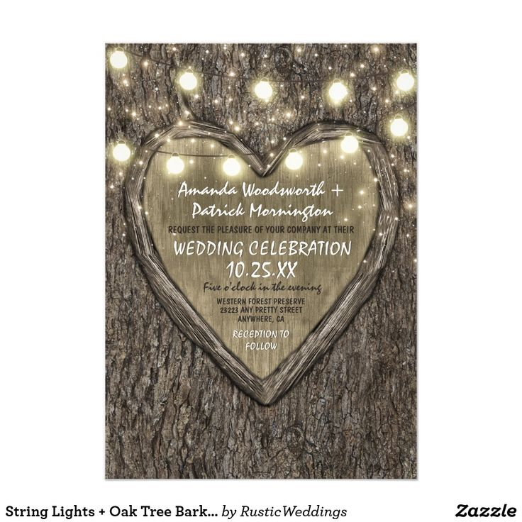 String Lights + Oak Tree Bark Wedding Invitations String Lights + Oak Tree Bark Wedding Invitations - features a carved heart, string lights and tiny twinkle lights scattered at the top. The background features a tree bark background.