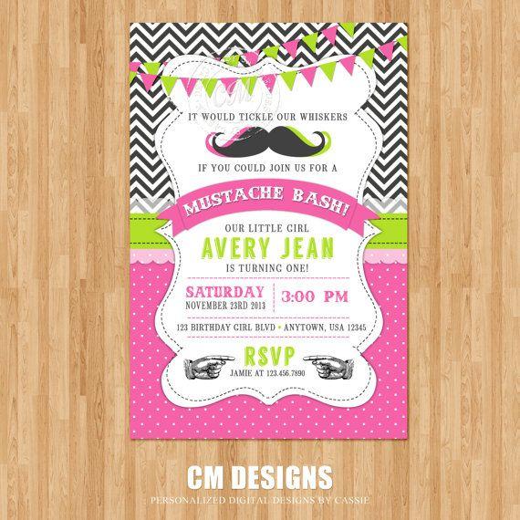 10 best ashleys 12th bday images on pinterest birthdays pajama girl mustache birthday invitation by designsbycassiecm on etsy filmwisefo