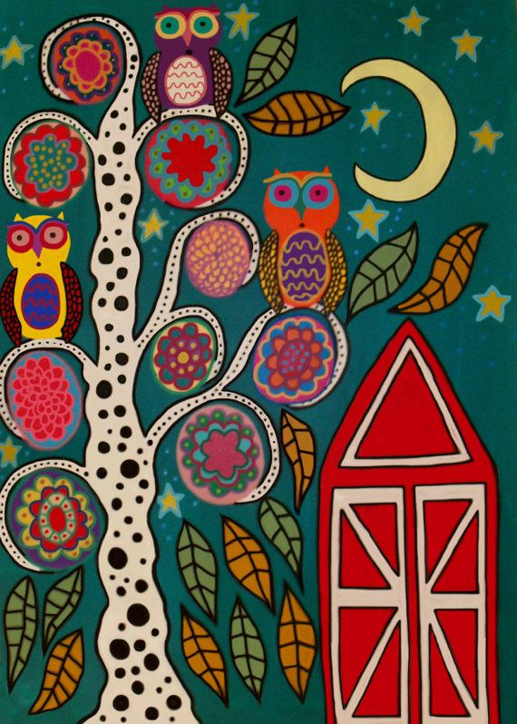 Kerri Ambrosino Art NEEDLEPOINT Mexican Folk Art Barn Owls and flowers Tree of Life Moon Country on Etsy, $22.99