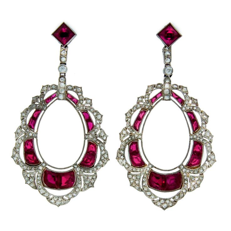 Gorgeous Art Deco c.1910's platinum earrings encrusted with synthetic rubies and rose cut diamonds.