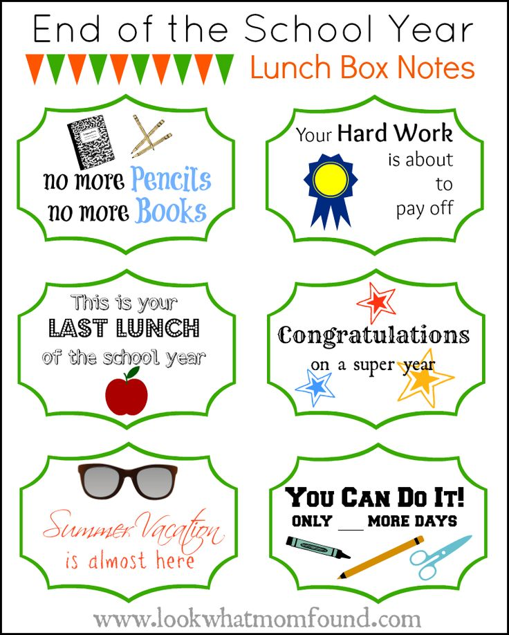 End of the School Year Lunch Box Notes #Printable #kidsinthekitchen