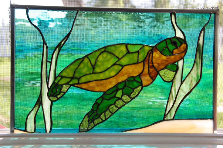 Sea turtle stained glass