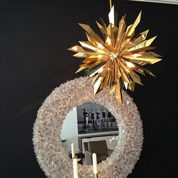 Close Up Of Tony Duquette Chandelier With Marjorie Skouras Rough Cut Crystal Mirror Available At Niba Home