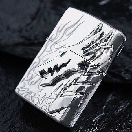 Japanese Plated Silver Tribal Dragon Flame Zippo Limited Edition