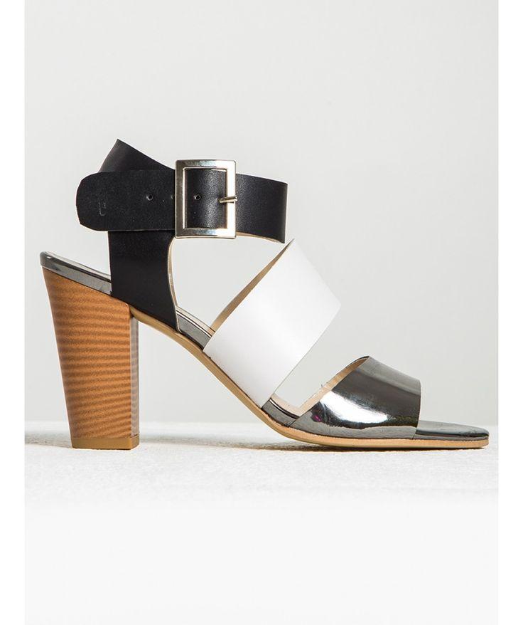 Aida Üç Renkli Tahta Topuklu Sandalet