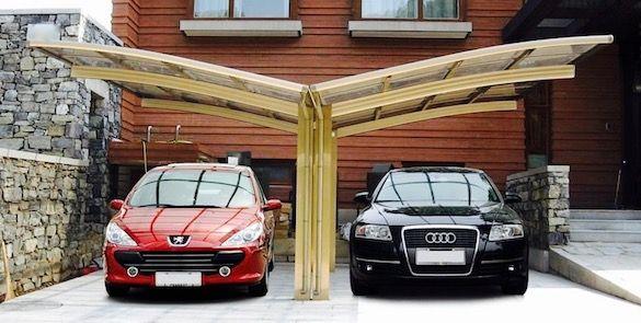Double carport aluminium design pour deux voitures