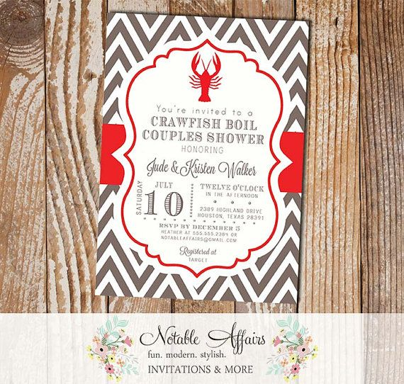 Crawfish Boil Couples Shower Party Celebration Engagement Couples Shower Invitation - colors and wording can be changed