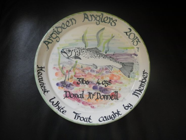 Trout fishing, Ceramic Plate