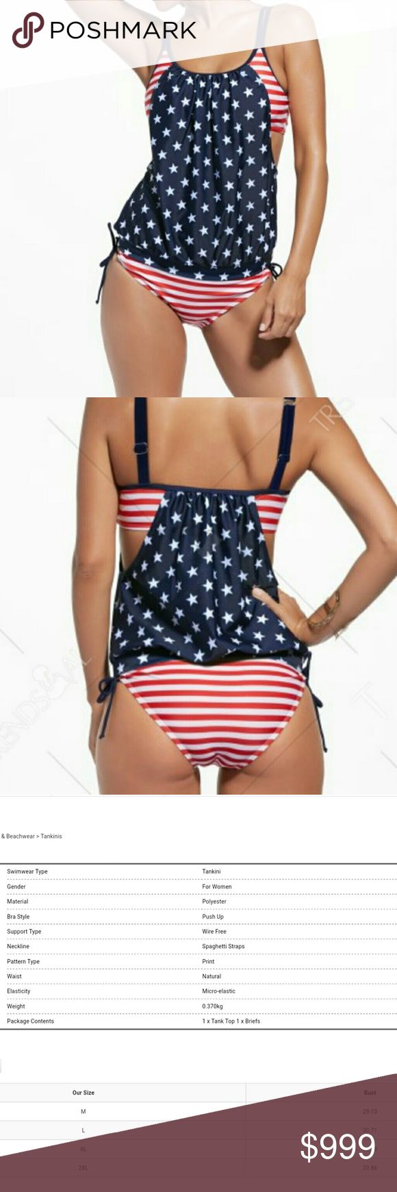 stars & stripes tankini Super cute Stars and Stripes two-piece tankini set. May run a tiny bit small, adjustable straps, stretchy. Brand new from wholesaler. 100% polyester and spandex mix. NO TRADES see size chart photo 08630 Swim