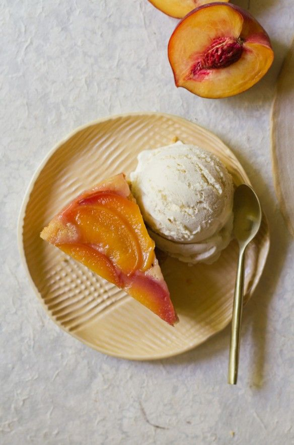 This Upside-Down Peach-Rhubarb Polenta Cake Recipe is my summery take on upside-down cake with peaches, rhubarb, and polenta.