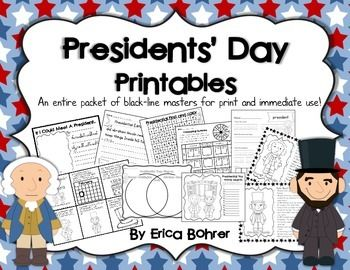 This packet contains no prep printables for Presidents' Day.    Included:  What is Presidents' Day Mini-Book What Does the President Do?  Mini-Book Three Presidential Editing Pages Build a Word: President George Washington Fact Sheet Abraham Lincoln Fact Sheet Washington vs.