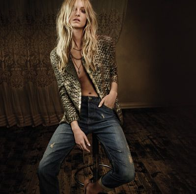 TWIN-SET Simona Barbieri, 2015/16 winter jeans collection: crew neck cardigan with asymmetric closure with gold laminate and red weft stretch jeans