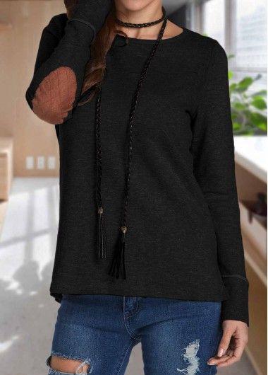 Patchwork Long Sleeve Black T Shirt on sale only US$28.27 now, buy cheap Patchwork Long Sleeve Black T Shirt at lulugal.com
