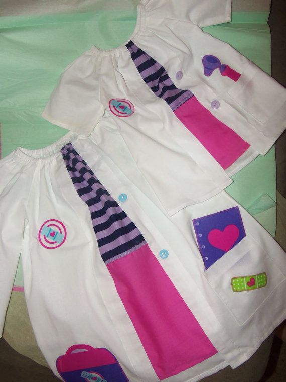 """Mommy and Me Doc McStuffins/Friends Fancy  Girls and Doll (18"""") Lab Coat/shirt and skirt 3 pc in 1 dress  Size  3t- Ready to Ship"""