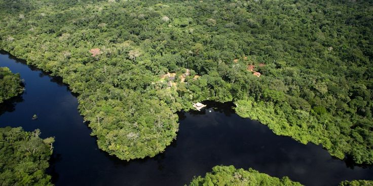 """Aerial Amazon Rainforest. Brazil Eco lodge """"Cristalino"""". Amazon hotel showing cottages, forest and river."""