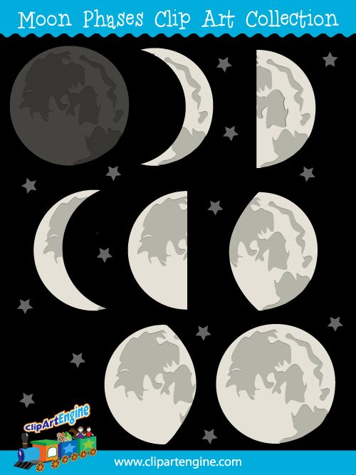 Our Moon Phases Clip Art Collection is a set of royalty free vector graphics that includes a personal and commercial use license.