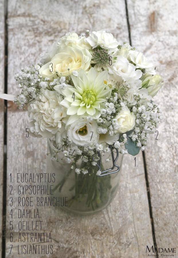 Bouquet de mariee blanc - La mariee aux pieds nus