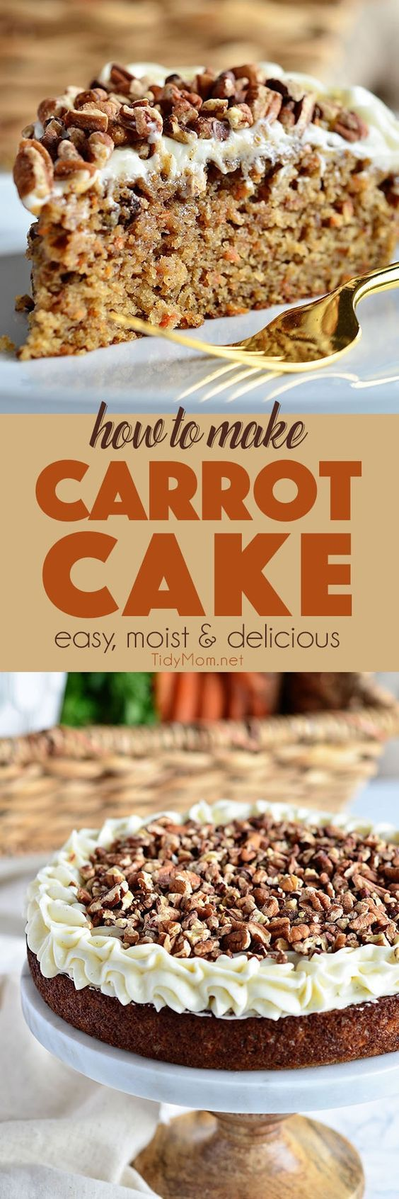 Tips on how to make the best homemade carrot cake. An incredibly moist carrot cake recipe with an ultra-creamy cream cheese frosting. Carrot Cake Recipe at TidyMom.net