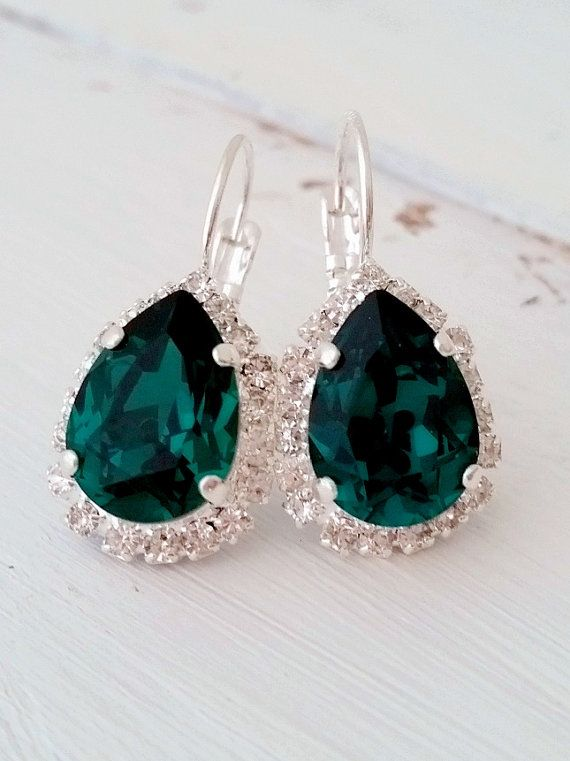 Emerald drop earrings, emerald green earrings,Swarovski earrings,emerald bridal earrings,emerald bridesmaids earrings,Gold or silver earring