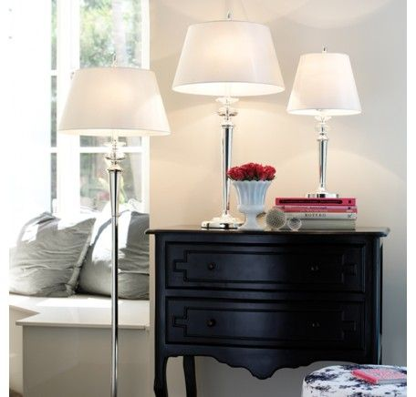 Ava large table lamp in silver with white shadelightingbeacon lighting