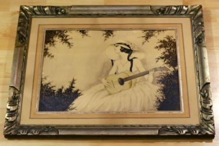 Beautiful watercolor E. Peeters. In the style of the French Art Nouveau / Art Boudoir. Period: ca 1930. In a beautiful wooden frame, even in a very good condition. Very attractive picture of lovely girl with guitar. Size 72 x 57 cm. Painted on high quality paper. Restored and re-framed. Painted in a naive style inspired by the French style artist Louis Icart...for Sale $ 250,-