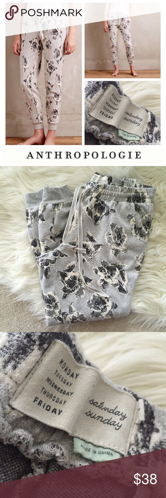 Anthropologie Graybloom Joggers by Saturday/Sunday Anthropologie Graybloom harem sweatpants / joggers with beautiful gray and white floral print throughout. Size S. Smoke and pet free home. Hope you enjoy! 💕 Anthropologie Pants