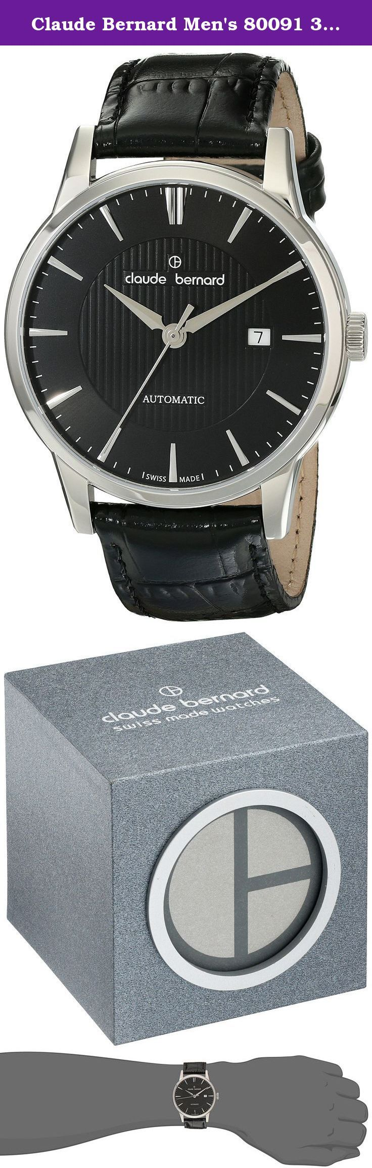 Claude Bernard Men's 80091 3 NIN Classic Automatic Analog Display Swiss Automatic Black Watch. This Swiss Made Claude Bernard dress watch features a Swiss ETA 2824-2 automatic (self-winding) movement housed in a 42mm diameter stainless steel case. The black dial has a rich looking stripe pattern in the center and the applied hour markers and hands are an elegant silver tone. A small date window is at the 3:00 position. Power reserve is 38 to 42 hours on a full wind. If you wear it daily…